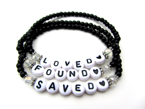 Armbandenset LOVED FOUND SAVED zwart wit sieraden